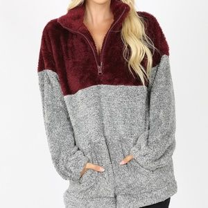 NEW PLUS SHERPA FAUX FUR PULL OVER TOP SWEATER